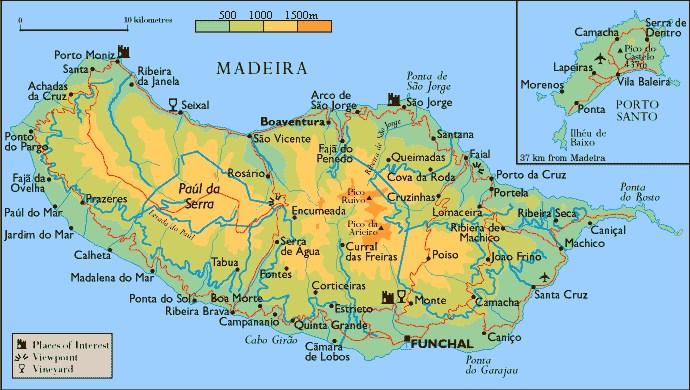Madeira - Portugal map madeira